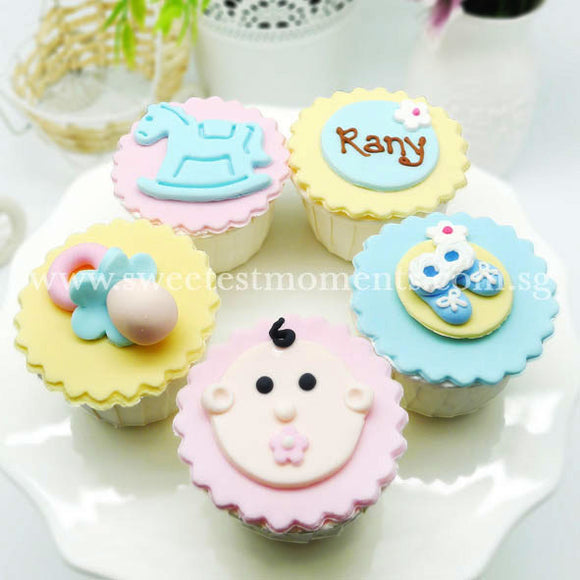 CF07 Bundle Of Joy Sweetest Moments Full Month Standard Cupcake Fondant