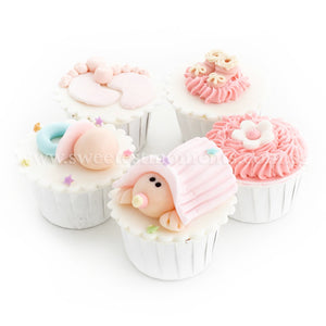 CF03 Cradled Cuties Sweetest Moments Full Month Standard Cupcake Buttercream Fondant Pink Box Of 5