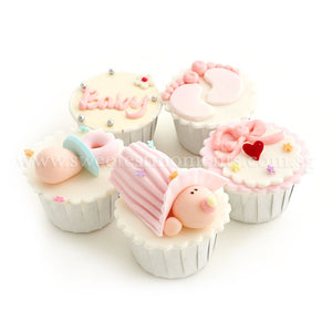 CF04 All About Baby Sweetest Moments Full Month Standard Cupcake Buttercream Fondant Blue Box Of 5