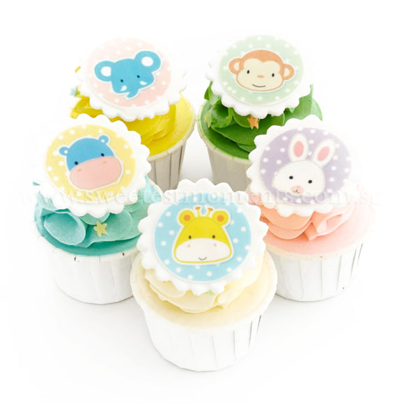 CF05 Baby Animals Sweetest Moments Full Month Standard Cupcake Buttercream Fondant Edible Image Personalised Box of 5
