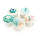 CF03 Cradled Cuties Sweetest Moments Full Month Standard Cupcake Buttercream Fondant Blue Box Of 5