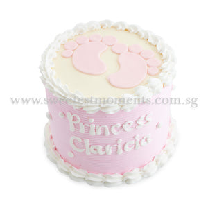 CFR01 Teeny Weeny Feet Sweetest Moments Full Month Cake Buttercream Pink