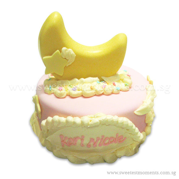 CFR07 Smiley Moon Sweetest Moments Full Month Cake Fondant