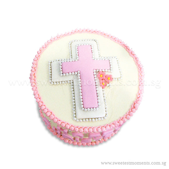 CFR08 Christening Sweetest Moments Full Month Cake Buttercream Pink