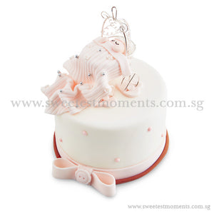 CFR10 Baby in Carriage Sweetest Moments Full Month Cake Fondant Pink