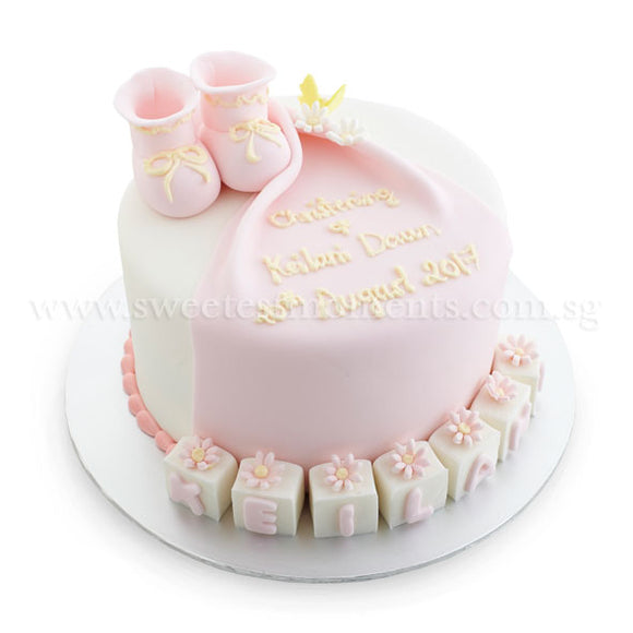 CFR13 My Booties Sweetest Moments Full Month Cake Fondant Pink