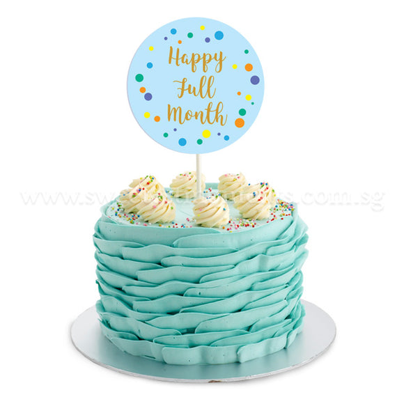 CFR17 Classic Ruffles Sweetest Moments Full Month Cake Buttercream Blue Flag Topper
