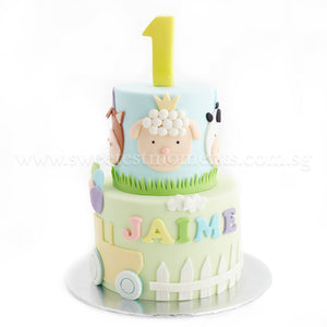 CFR18-2 Tier Farm Animals Crossing Sweetest Moments Full Month Cake Fondant