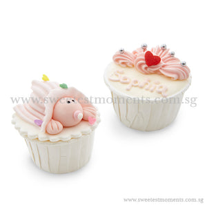 CFT02 Baby Crown Sweetest Moments Full Month Standard Cupcake Buttercream Twin Packed Door Gifts