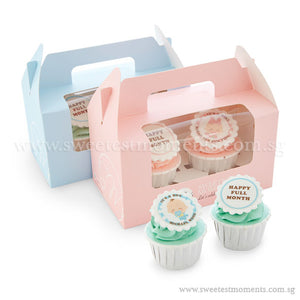 CFT05 Our Baby Sweetest Moments Full Month Standard Cupcake Buttercream Fondant Twin Packed Door Gifts Personalised