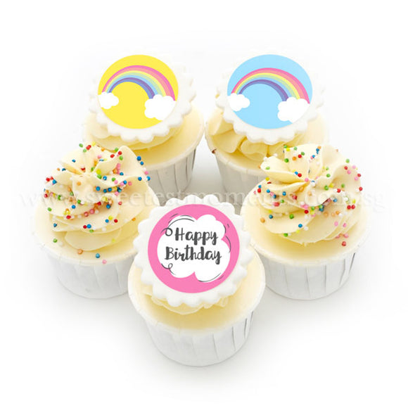 CK09 Rainbow Wishes Sweetest Moments Birthday Standard Cupcake Buttercream Fondant