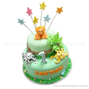 CKR08 2-Tier King of Jungle Sweetest Moments Birthday Cake Fondant
