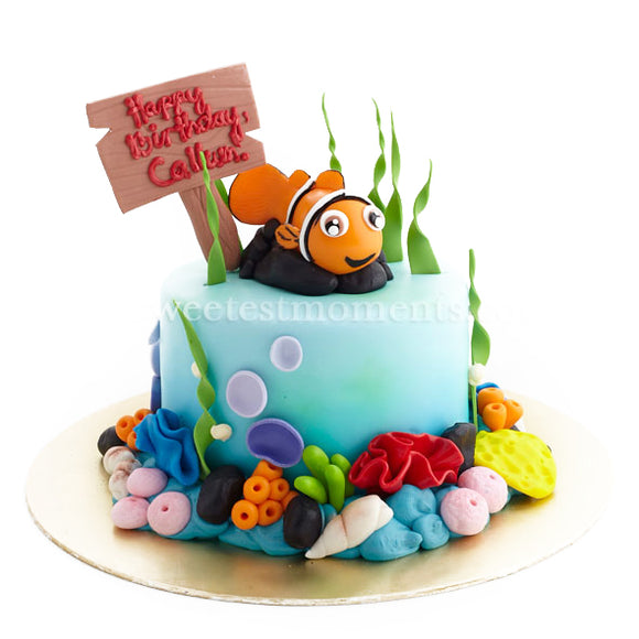 CKR10 Happy Fishy Sweetest Moments Birthday Cake Fondant