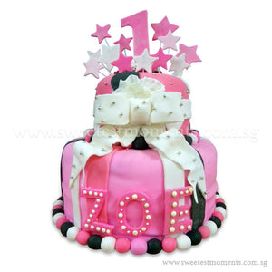 CKR12 2-Tier Pink Paradise Sweetest Moments Birthday Cake Fondant