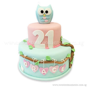 CKR13 2-Tier Hoot Hoot Sweetest Moments Birthday Cake Fondant