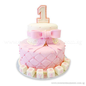 CKR16 2-Tier Classic Pink Birthday Sweetest Moments Cake Fondant