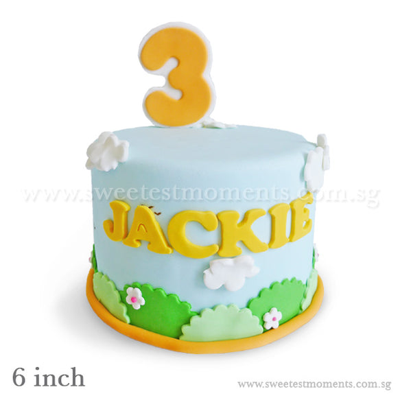 CKR18 Happy Sky Sweetest Moments Birthday Cake Fondant