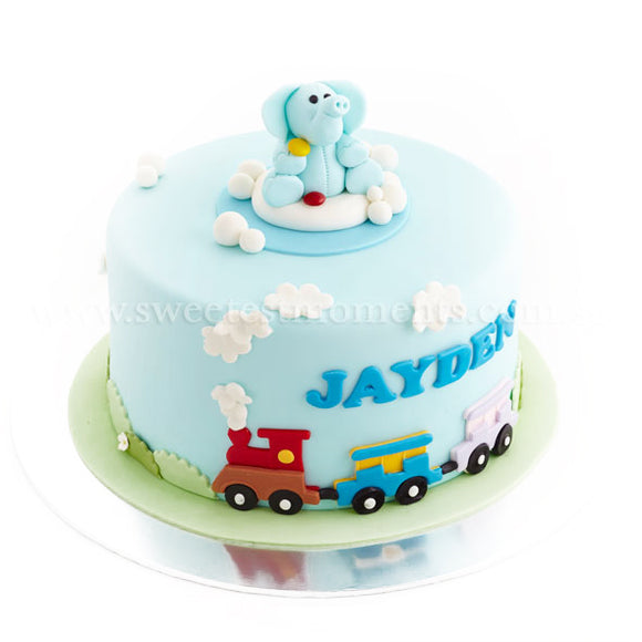 CKR19 Elephant Railway Ride Sweetest Moments Birthday Cake Fondant 10 inch
