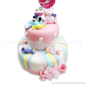 CKR22 2-Tier Lollipopy Sweetest Moments Birthday Cake Fondant