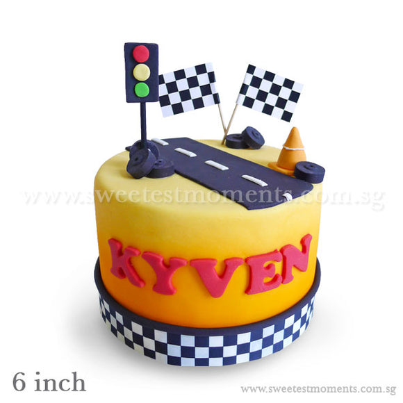 CKR27 Race Track Sweetest Moments Birthday Cake Fondant