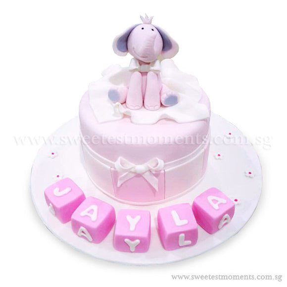 CKR33 Princess Elephant Sweetest Moments Birthday Cake Fondant