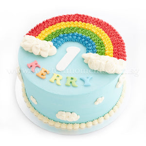 CKR36 Rainbow In The Clouds Sweetest Moments Birthday Cake Buttercream