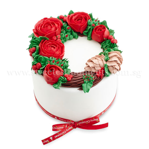 COR06 Rustic Xmas Sweetest Moments christmas standard cake 6 inch red velvet moist chocolate