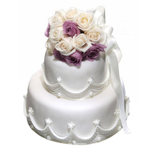 CWR02 Blossom Garden Sweetest Moments Wedding Cake Fondant 2-Tiered