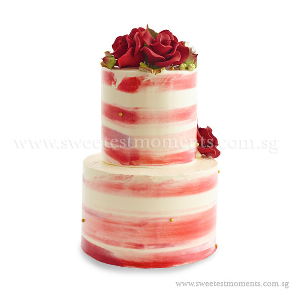 CWR08 Sweet Scarlet Sweetest Moments Wedding Cake Buttercream 2-Tiered