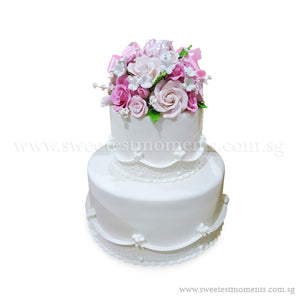 CWR05 Sugared Blooms Sweetest Moments Wedding Cake Fondant 2-Tiered