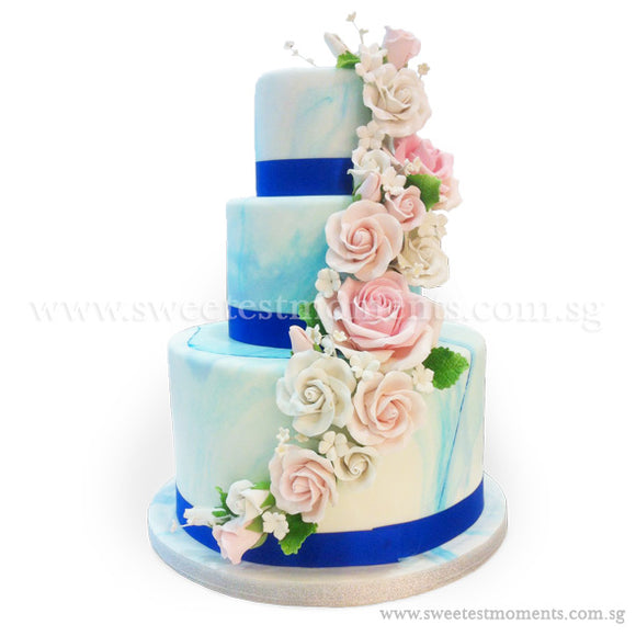 CWR06 Bold Beauty Sweetest Moments Wedding Cake Fondant 3-Tiered