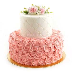 CWR10 Rosette Pearl Sweetest Moments Wedding Cake Fondant Buttercream 2-Tiered
