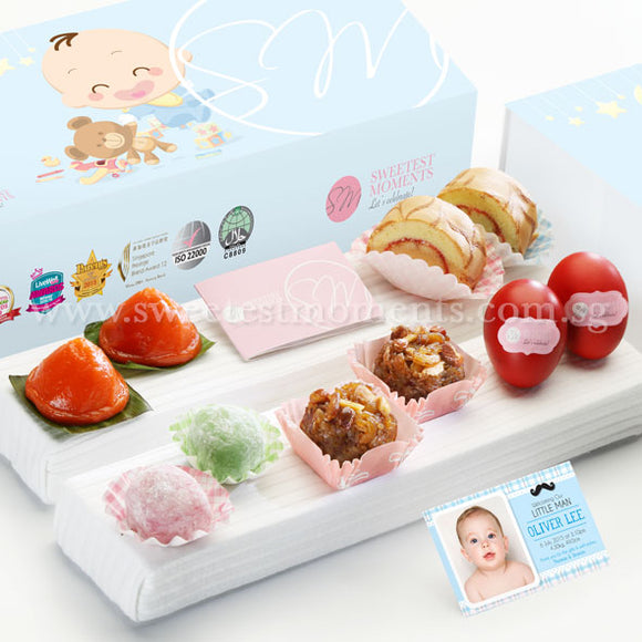 FA01 Classic Tradition Full Month Package Sweetest Moments Ang Ku Kuehs Swiss Rolls Mochi Glutinous Rice Good Luck Red Eggs Baby Boy Box