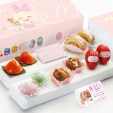 FA01 Classic Tradition Full Month Package Sweetest Moments Mini Ang Ku Kuehs Swiss Rolls Mochi Glutinous Rice Good Luck Red Eggs Baby Girl Box