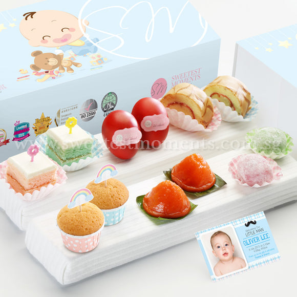 FA17 CLASSIC ABUNDANCE Full Month Package Sweetest Moments Swiss Rolls Good Luck Red Eggs Pastel Cubes Ang Ku Kuehs Mini Muffin Mochi Baby Boy Box