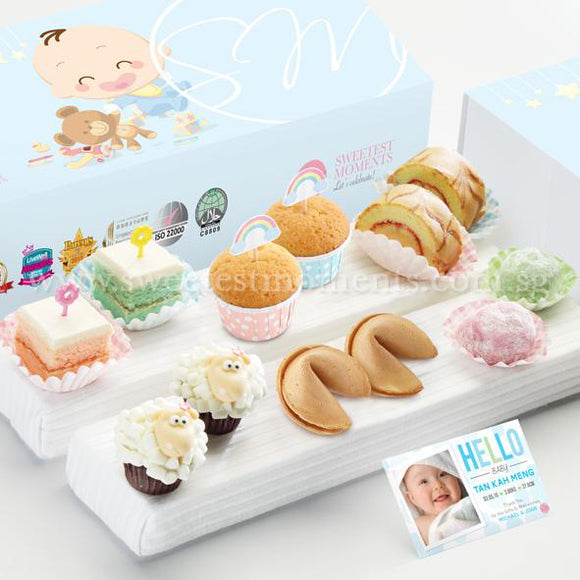 FA19 Classic Happiness Full Month Package Sweetest Moments Mini Muffin Mochi Swiss Rolls Pastel Cubes 旺旺 Cookies Mini Baa Baa Cupcakes Baby Boy Box