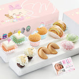 FA19 Classic Happiness Full Month Package Sweetest Moments Mini Muffin Mochi Swiss Rolls Pastel Cubes 旺旺 Cookies Mini Baa Baa Cupcakes Baby Girl Box