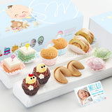 FA19C Classic Happiness Full Month Package Sweetest Moments Mini Muffins Pastel Cubes Mini Chicky Chicks Swiss Rolls Mochi 旺旺 Cookies Baby Boy Box