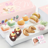 FA19C Classic Happiness Full Month Package Sweetest Moments Mini Muffins Pastel Cubes Mini Chicky Chicks Swiss Rolls Mochi 旺旺 Cookies Baby Girl Box