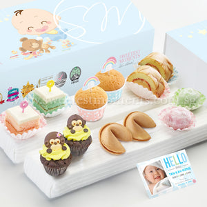 FA19M Classic Happiness Full Month Package Sweetest Moments Pastel Cubes Mini Muffins Swiss Rolls Mochi 旺旺 Cookies PeekaBoo Cupcakes Baby Girl Box