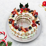Jolly Holly Christmas Wreath Cookie Cake