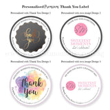 Personalised Premium Thank You Cookie Label Black & Gold Colourful Corporate