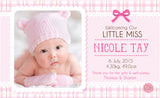 Personalised BabyCards for Girls Sweetest Moments Little Miss BabyCard