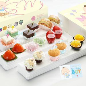 PF04 Premium Beatitude Full Month Package Sweetest Moments Swiss Rolls Brownies Pastel Cubes Good Luck Red Eggs Mochi Ang Ku Kuehs Peachy Tarts Mini Muffins Baa Baa Cupcakes