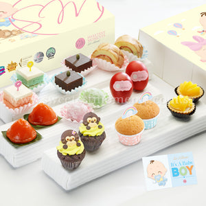 PF04M Premium Beatitude Full Month Package Sweetest Moments Swiss Rolls Brownies Pastel Cubes Good Luck Red Eggs Mochi Ang Ku Kuehs Peachy Tarts Mini Muffins PeekaBoo Cupcakes