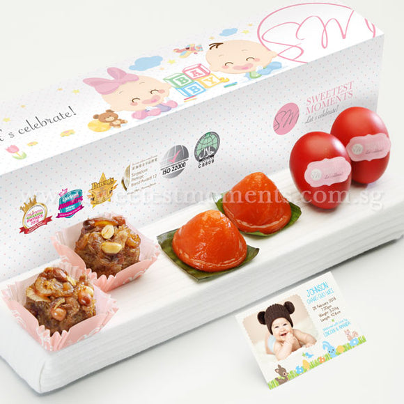 PP02 Tradition De Petit Full Month Package Sweetest Moments Glutinous Rice Ang Ku Kuehs Good Luck Red Eggs Baby Block Box