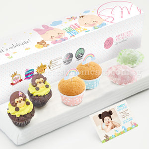 PP13M Happy De Petit Full Month Package Sweetest Moments PeekaBoo Cupcakes Mini Muffins Mochi Baby Block Box