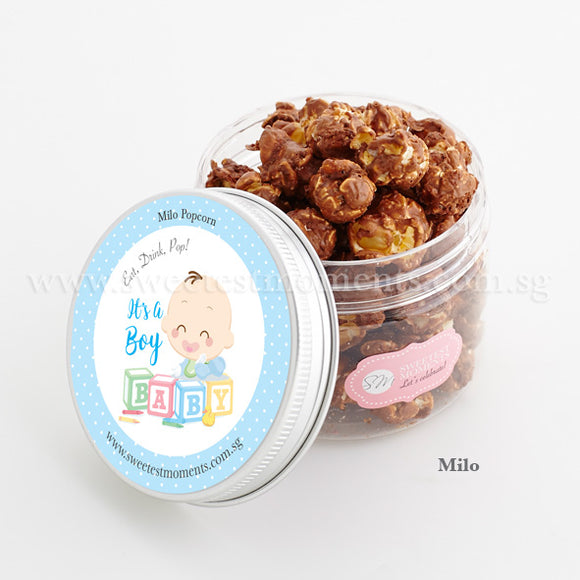 PT Celebration Popcorn Sweetest Moments Full Month Birthday Door Gifts Milo Baby Boy Blocks Blue
