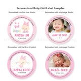Personalised Baby Girl Popcorn Label Blocks Confetti Pink