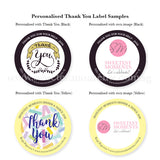 Personalised Thank You Popcorn Label Black Yellow Corporate